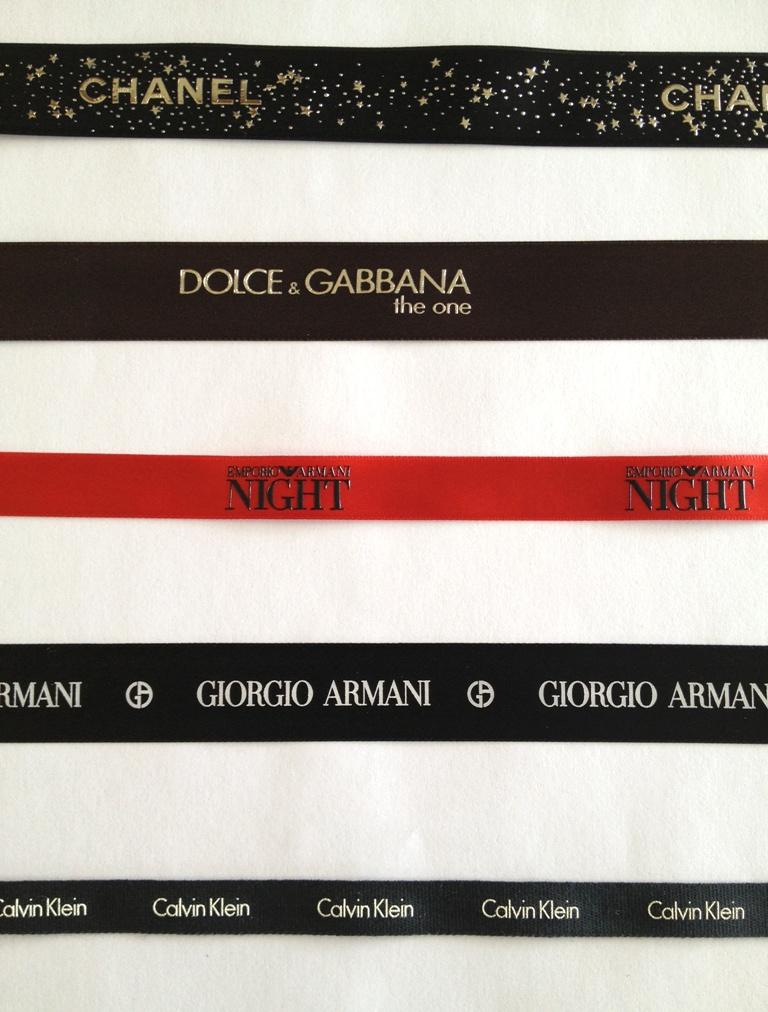 Chanel, Calvin Klein, Armani, Dolce & Gabbana Ribbon Samples